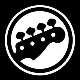 DD022 Bass Guitar Decal Sticker | 5.5-Inches By 5.5-Inches | Premium Quality White Vinyl