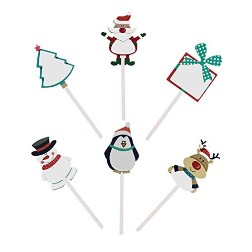 justdolife 6PCS Cake Topper Set Cute Snowman Santa Shape Blank Writing Cupcake Topper Cake Decoration