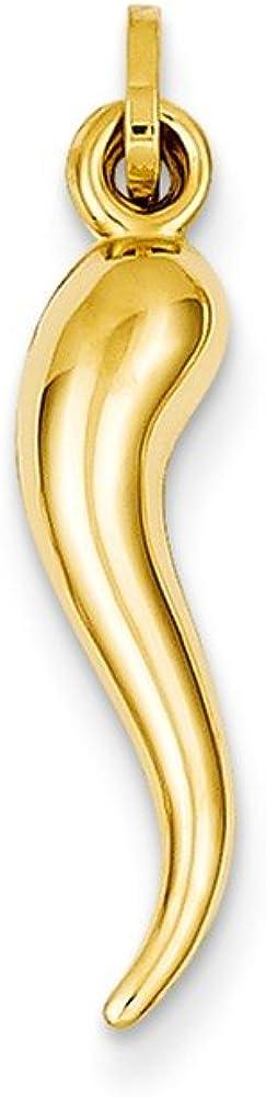 14k Yellow Gold 3D Cornicello Italian Horn Protection Charm Pendant - 24mm x 6mm