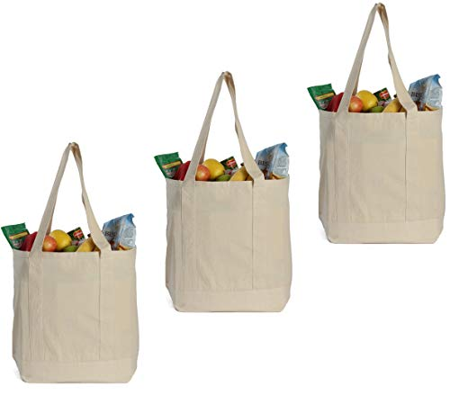 Earthwise Reusable Grocery Bags X-Large 100 Cotton Canvas Shopping Craft Beach Cloth Tote with Handles Biodegradable Foldable and Eco Friendly Washable 20 X 16 3 Pack