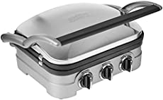 """Cuisinart GR-4NP1 5-in-1 Griddler, 13.5""""(L) x 11.5""""(W) x 7.12""""(H), Silver With Silver/Black Dials"""