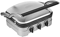 "Cuisinart GR-4N 5-in-1 Griddler, Silver, Black Dials. <a href=""https://www.amazon.com/gp/product/B002YD99Y4/ref=as_li_tl?ie=UTF8&amp;camp=1789&amp;creative=9325&amp;creativeASIN=B002YD99Y4&amp;linkCode=as2&amp;tag=ris15-20&amp;linkId=a74609e8b85572b1df6c348fad202e6f"" target=""_blank"" rel=""nofollow noopener""><span style=""text-decoration: underline; color: #0000ff;""><strong>Buy one on Amazon today.</strong></span></a>"