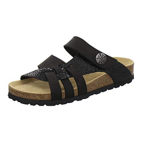 AFS-Schuhe 2120 Damen Hausschuhe Sommer aus Leder mit Klettverschluss, geschlossen oder offen, Made in Germany (40 EU, schwarz/schwarz-marmor)