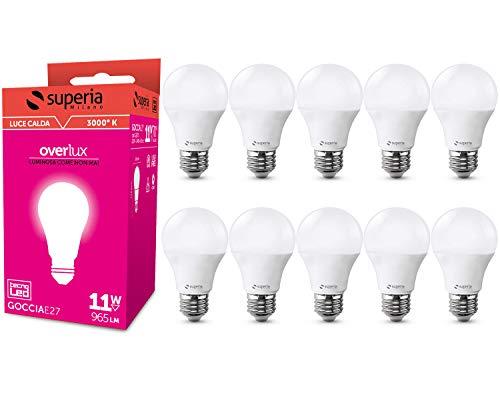 Superia Lampadina LED E27 Goccia, 11W (Equivalenti 70W), Luce Calda 3000K, 965 lumen, GE27C, Pacco da 10