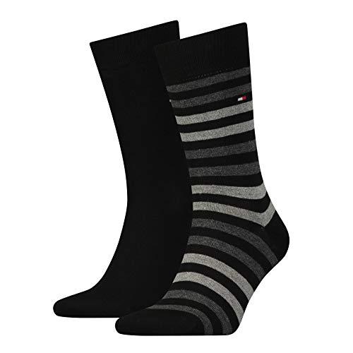 Tommy Hilfiger Herren TH MEN DUO STRIPE 2P Socken, Schwarz (Black 200), 43/46 (2er Pack)