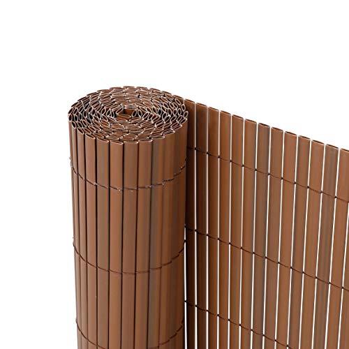 Ribelli® PVC Sichtschutzmatte Sichtschutzzaun Sichtschutz Zaun Balkon Windschutz (120 x 400 cm, Braun)