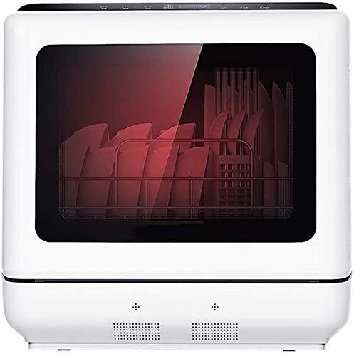 ZIJIAGE Lave-Vaisselle Compact Portable Countertop, avec 6 Paramètres et Place Argenterie Panier, Affichage LED, Panneau de Antidéflagrant, Grande fenêtre panoramique, Blanc,110 Volts
