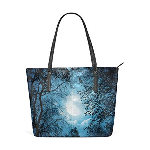 XGBags Custom Borsa a tracolla in pelle PU da donna Moonlight Night Purse PU Leather Shoulder Tote Bag Purse for Womens Girls Ladies