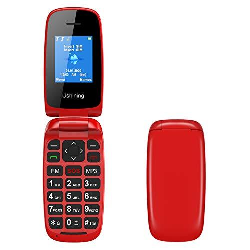 Ushining GSM Telefono Cellulare per Anziani, Telefono Cellulare a Conchiglia con Tasti Grandi Funzione SOS, Cellulare per Anziani Facile da Usare - Rosso