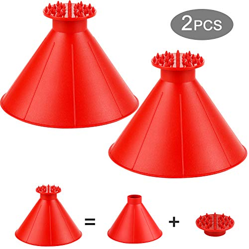 Eocean Ice Scraper, Cone-Shaped Car Snow Removal Shovel Tool, Magic Funnel Car Windshield Ice Scraper (Red)