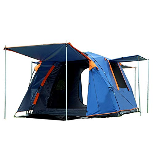 Tent One bedroom, two halls, 3-4 people automatic, square roof, automatic speed opening, camping with snow skirt (Color : Blue)