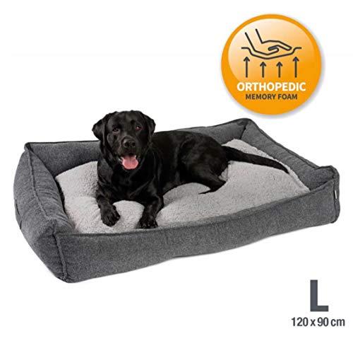 JAMAXX Premium Hundebett Orthopädisch Memory Visco Schaum Waschbar Abnehmbarer Bezug Wasserabweisend - Weiches Sofa Hundekorb Hunde-Körbchen mit Wendekissen - PDB2004 (L) 120x90 grau