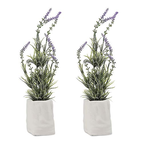 PENGYEE Artificial Mini Potted Flowers Plant 2 Pack Lavender Plants Artificial Fake Plants for Home Office Decor Party Wedding Balcony Bathroom Decoration