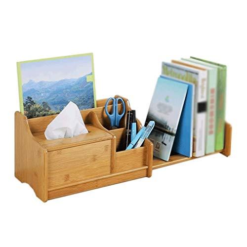 WSSBK Natural Bamboo Desktop Bookshelf Counter Top Bookcase,Desk Storage Organizer Display Shelf Rack for Office Supplies, Kitchen, Bathroom