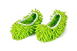 Multifunctional Washable Chenille Fibre House Floor Cleaning Dust Mop Slippers Foot Socks Mop Shoes – Green