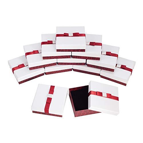nbeads Schmuckkästchen Aus Karton, Quadratisch, mit Schwamm und Band, 9 × 9 × 3 cm, Weiß, 50 Stück