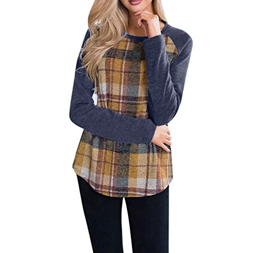 Fantastic Deal! Lovor Women's Tops Blouse Plaid Print Long Sleeve Crewneck Pullover Soft Comfy Check...