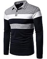 Men Autumn Winter Knitted Warm Turtleneck Sweaters Slim Fit Knitted Pullover Stripe Blocks Sweater (L, Black)