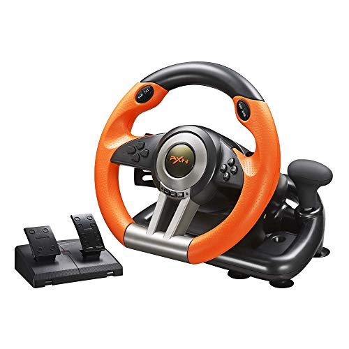 Game Racing Wheel, PXN-V3II 180° Competition Racing Steering Wheel with Universal USB Port and with Pedal, Suitable for PC, PS3, PS4, Xbox One, Nintendo Switch.