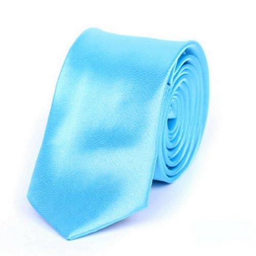 "Y-BOA - Cravate Unie – Homme Modern– Polyester –Slim/Fine- Solide - 2""*56""- Réglable- Costume Mariage Affaires (#10 Azur)"