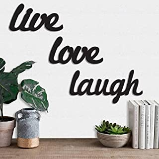 Generic Live Love Laugh MDF Plaque Painted Cutout Ready to Hang Home Décor Wall Art (Black)