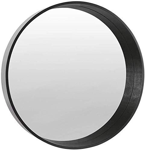 BD ART Espejo Redondo Moderno, de Pared, diámetro 50 cm, Madera, Color Negro