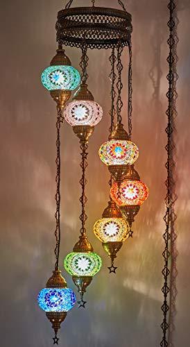 DEMMEX Turkish Moroccan Mosaic Hanging Globes Chandelier