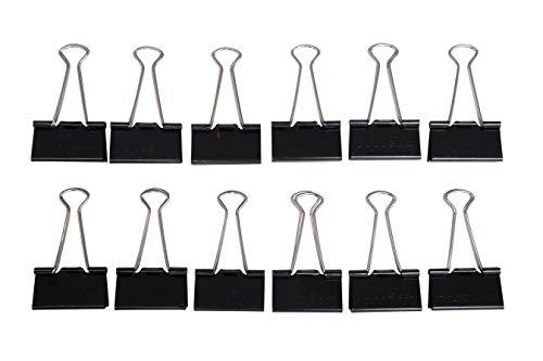 Maul Original Mauly Klemmer 41 mm, Foldbackclip, Klemmweite 19 mm, 2144190, Karton 12 Stück, Schwarz