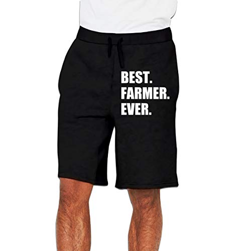 MH08OMG Best Farmer Ever Men's Casual Loose-Fit Sports Sweatpants Shorts Black