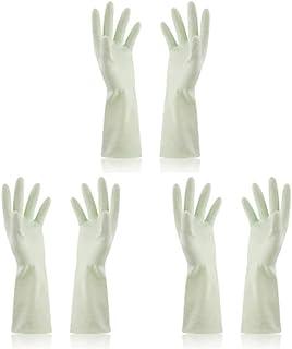 使い捨て手袋 使い捨て手袋防水ラテックス焦げ付き防止ゴム製ゴム製台所手袋、3組 ニトリルゴム手袋 (Color : Green, Size : M)