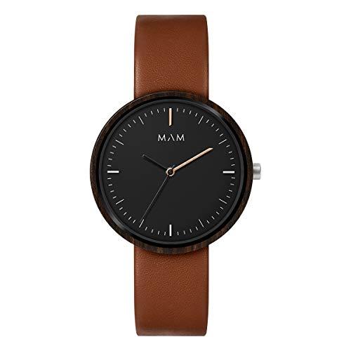 Mam relojes Plano Herren Uhr analog Japanisches Quarzwerk mit Leder Armband 646