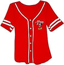 Disney Ladies Mickey Mouse Fashion Shirt - Ladies Classic Mickey Mouse Clothing Mickey Mouse Baseball Jersey Tee (Red Baseball, Large)