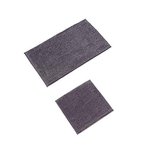 WohnDirect Badematten Set • WC Vorleger (45x45cm), Badematte (50x80cm) • rutschfest waschbar Badezimmerteppich OHNE WC-Ausschnitt - Grau