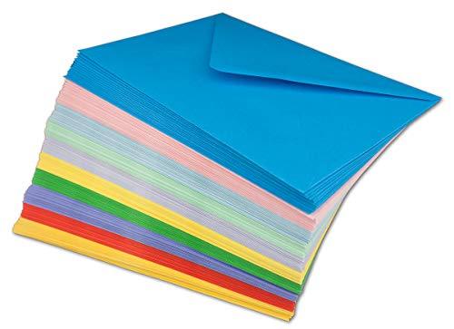50 Briefumschläge Bunt Mix DIN C5-100 g/m² Kuvert Ohne Fenster 16,2 x 22,9 cm - Nassklebung spitze Klappe - Umschläge Paket farbig zum basteln - Glüxx-Agent