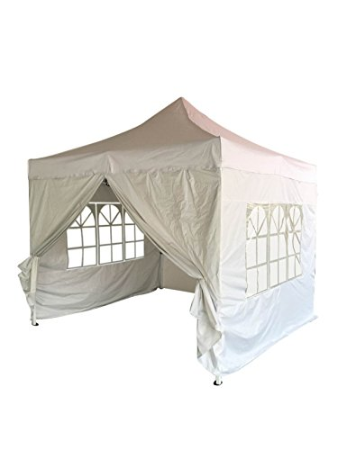 EazyGoods 3 x 3 m Heavy Duty Pop-Up Pyramid Roof Waterproof Gazebo Tent Marquee with Wind Bar and Sidewalls, White,