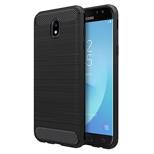 Simpeak Hülle Kompatibel für Samsung Galaxy J7 2017, Premium Weiche Karbonfaser Elastisch Schützendes Rückseiten-Case Kompatibel mit Samsung J7 2017 [Fallschutz] [rutschfest] [Kratzfest] - Schwarz