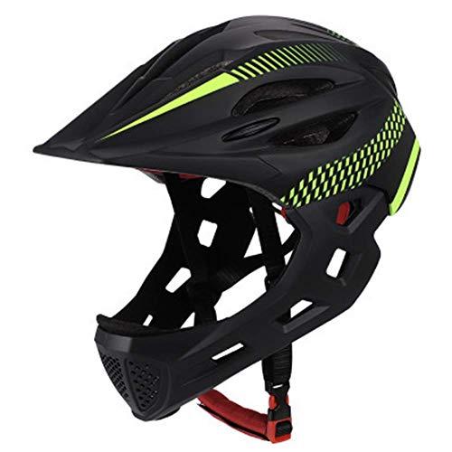 Kinder Fahrradhelm, Abnehmbare Voll Gesicht Kinn Schutz Balance Fahrrad Schutzhelm mit Rücklicht & Atmungsaktiv Löcher für Reiten/Skateboard/Fahrrad/Scooter - Schwarz + Grün