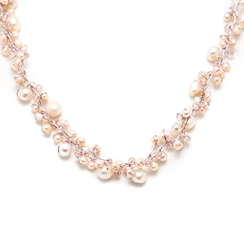 Peach Genuine Cultured Freshwater Pearl Three (3) Strand Silk Thread Princess Length Necklace 17-19""