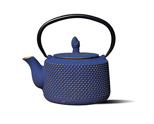 Old Dutch International Deep Blue/Gold Cast Iron Matsukasa Teapot