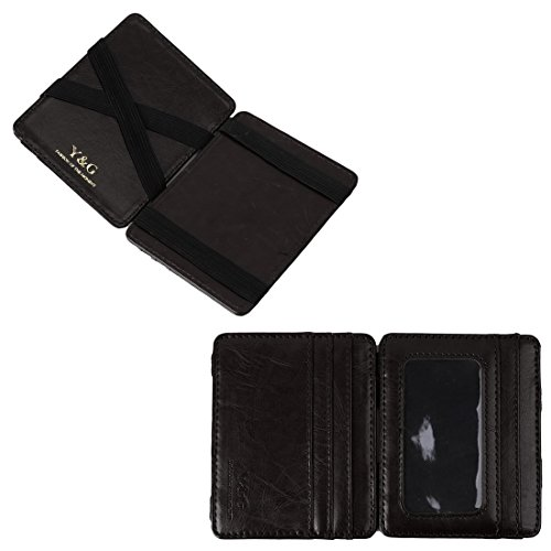 Y&G YCM020201 Black Leather Magic Wallet with Card Holders Online Shopping For Business With Gift Box