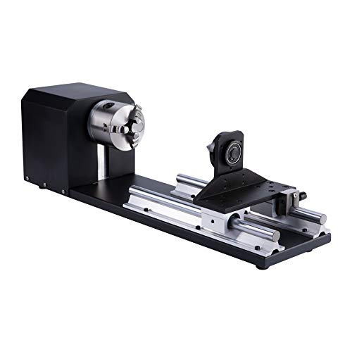 OMTech Rotary Cutter and Engraver Attachment with 3-Jaw Chuck and 2-Phase Stepper Motor for 50W 60W 80W 100W 130W CO2 Laser Engraving Machines Rotary Tool Accessory Kit for Wood and More