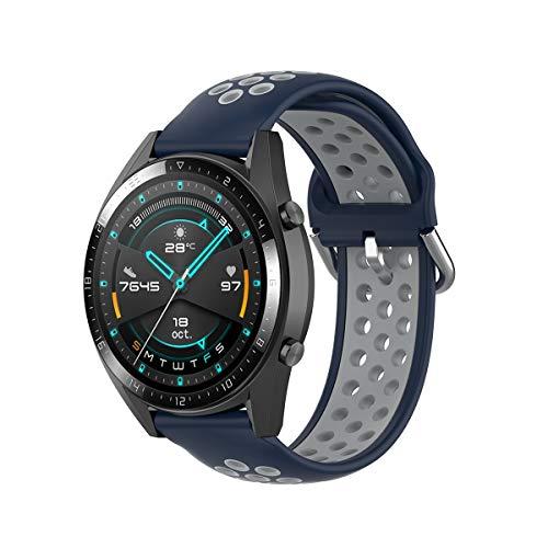 KOMI Correa de silicona para reloj de 20 mm, 22 mm, para mujeres y hombres de fitness, accesorios de reloj inteligente (20 mm, azul oscuro/gris)