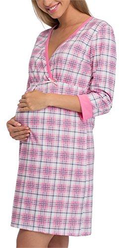 Cornette Premamá Camisón Lactancia Vestido de Casa Mujer 652/17 (Rosa/Gris, XXL)