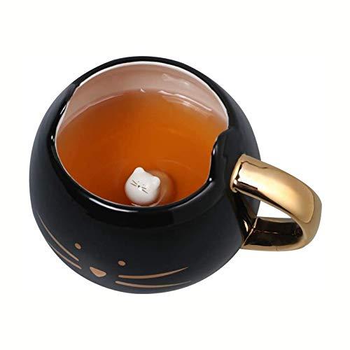 Süße Katze Design Kaffeetasse mit Katzendeckel Geschenk für Katzenliebhaber Einzigartige Keramik Porzellan Teetasse Kaffeetassen für Mädchen Frauen Männer