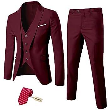 MYS Men s 3 Piece Slim Fit Suit Set One Button Solid Jacket Vest Pants with Tie Burgundy
