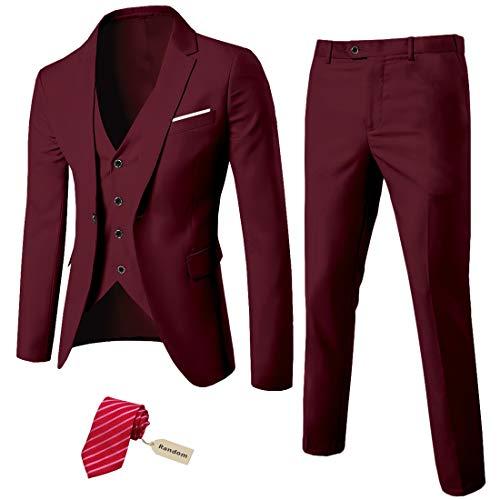 MYS Men's 3 Piece Slim Fit Suit Set, One Button Solid Jacket Vest Pants with Tie Burgundy