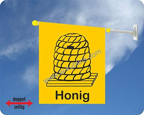 Werbefahnen24.com Werbeflagge Honig für Imkerei und Wochenmarkt, Bienenstock