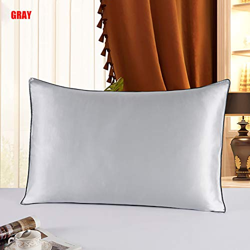 Ademende kussensloop, Mulberry zijden kussensloop, zijden kussensloop, voor haar en huid slaapkamer beddengoed, met envelop sluiting,Gray