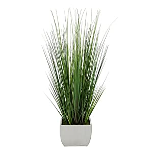 House of Silk Flowers Artificial 44″ Grass in Large Rectangle Zinc (Cream)