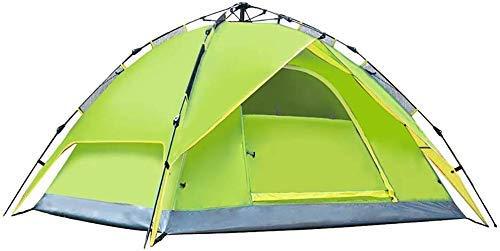 Busirsiz Tienda de campaña para 3 – 4 personas, toldo impermeable para exteriores, para montañismo, senderismo, picnic, lluvia, fácil de instalar, apto para exteriores, senderismo y (color: verde)
